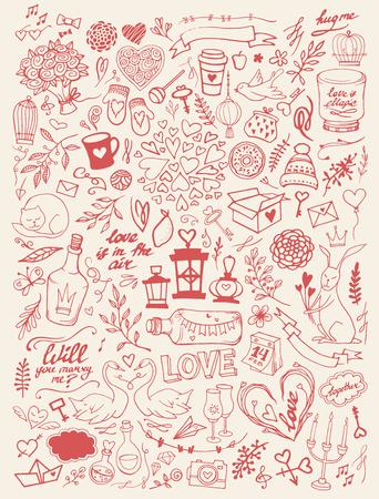 발렌타인 손짓 낙서 세트 - 자유형 벡터 일러스트 레이 션. 전통적인 낭만적 인 상징 : 심장 모양, 디저트, 비둘기, 백조, 샴페인, 연애 편지, 장미, florals 일러스트