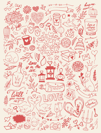 Valentines Day handsketched doodle set - freehand vector illustration. Traditional romantic symbols: heart shapes, desserts, doves, swans, champagne, love letters, roses, florals and flourishes. Иллюстрация