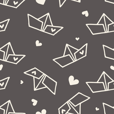 fabric pattern: Hand drawn Valentines day seamless pattern with paper ships and hearts