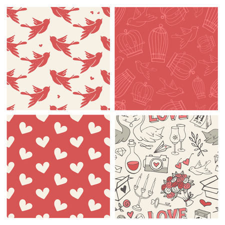 love bird: Set of 4 hand-sketched valentines day seamless patterns. Great for holiday decoration, wrapping paper, scrapbooking, etc.