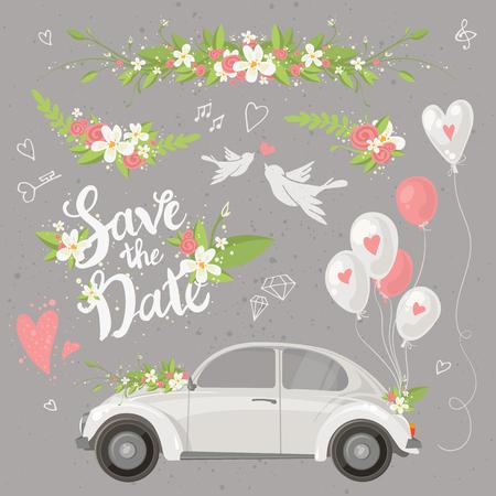 Mooie bruiloft clipart set met retro auto, bloemen, ballonnen, duiven en harten. Sparen de datum belettering. Vector illustratie.