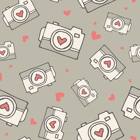 a cartoon film: Valentines day seamless pattern with hand-drawn hearts and cameras