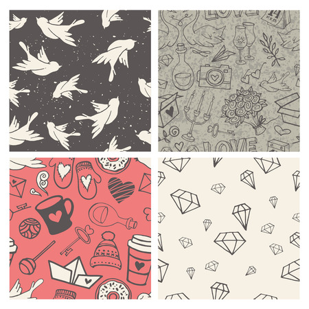 couple background: Set of 4 hand-sketched valentines day seamless patterns. Great for holiday decoration, wrapping paper, scrapbooking, etc.