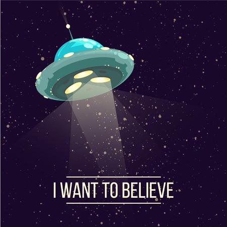 추상 환상적인 그림 -ufo 어두운 푸른 하늘에 밝은 스포트 라이트와 함께. 일러스트