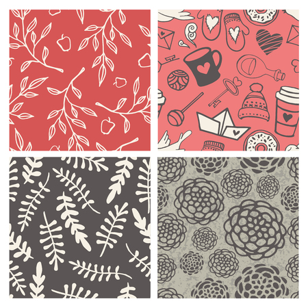 seamless patterns: Set of 4 hand-sketched valentines day seamless patterns. Great for holiday decoration, wrapping paper, scrapbooking, etc.
