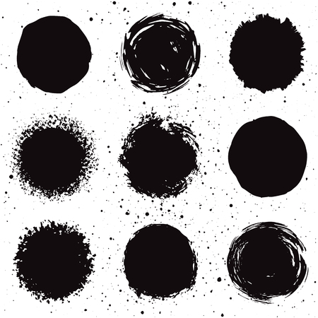 Set of 9 hand drawn grunge background shapes. Isolated ink spots. Иллюстрация