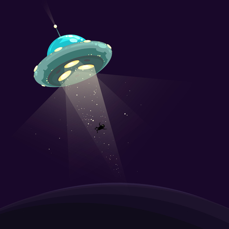 Funny vector illustration of UFO abduction. Spaceship abducting a man.