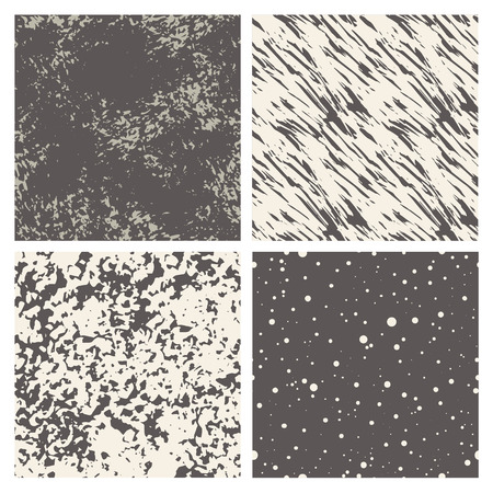 Vector set of hand-drawn abstract seamless textures. Grunge background. Çizim