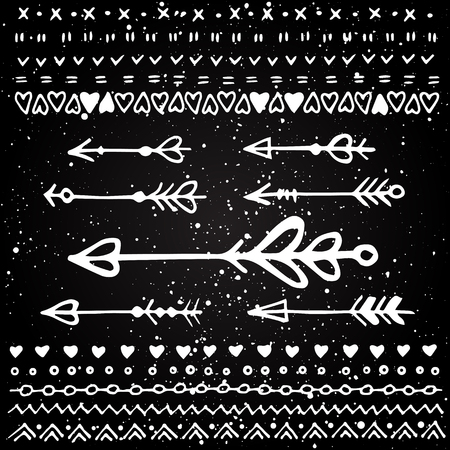 sketched arrows: Set of hand sketched isolated arrows and borders. Vector decorative elements. Valentines day decoration.
