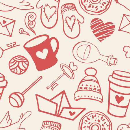 honeymoon couple: Seamless pattern with valentines day symbols. Love background.