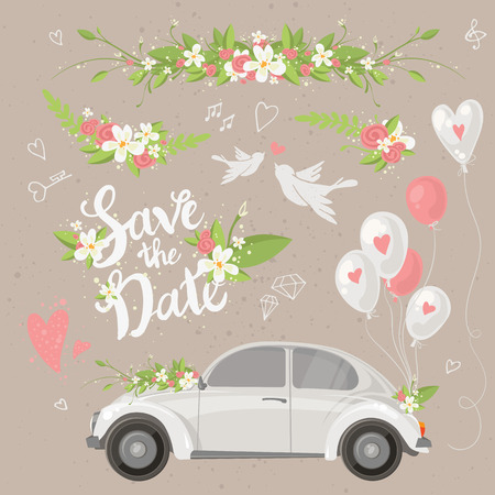 car garden: Beautiful wedding clip art set with retro car, flowers, balloons, doves and hearts.