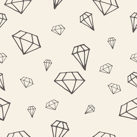 gemstones: Hand drawn seamless pattern with diamonds. Wrapping paper. Illustration