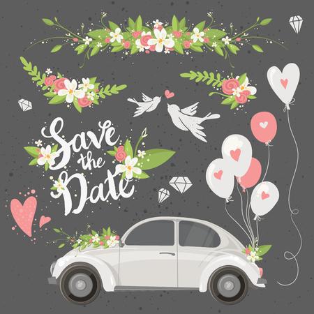 Schöne Hochzeit Cliparts mit Retro-Auto, Blumen, Luftballons, Tauben und Herzen gesetzt. Save the date-Schriftzug. Vektor-Illustration. Vektorgrafik