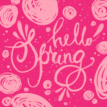 typography signature: Hand lettering Hello Spring. Brush pen isolated lettering quote with hand drawn flourishes. Pink vector label for banners, posters, web design, etc.