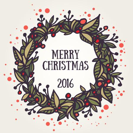 Greeting card with hand-drawn christmas wreath. Merry Christmas retro invitation