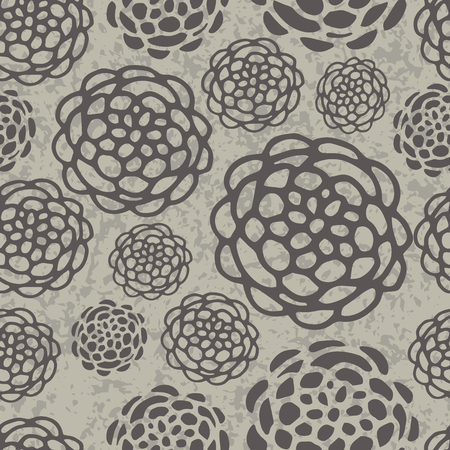 aster: Hand drawn seamless pattern with aster flowers
