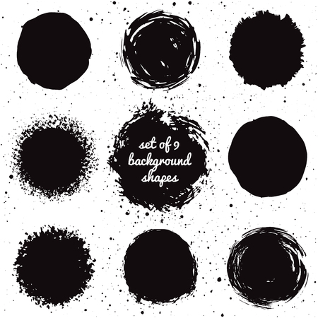ink: Set of 9 hand drawn grunge background shapes. Isolated ink spots. Illustration