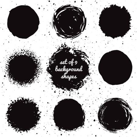 Set of 9 hand drawn grunge background shapes. Isolated ink spots. Illustration