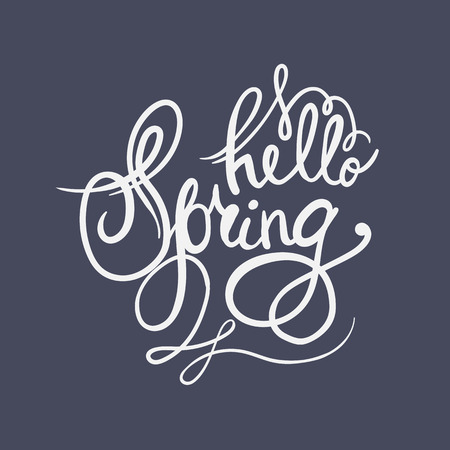 scripts: Hand lettering Hello Spring. Brush pen isolated lettering quote. Vector label for banners, posters, web design, etc. Illustration