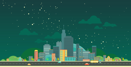 panorama city: Modern vector illustration of urban landscape. Flat city. Set of buildings. Night creative background. Panorama