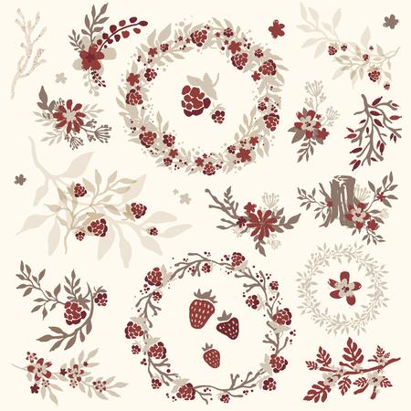 Set di handsketched fiori, rami, corone e gli angoli. Fiori e fiorisce. elementi della natura epoca disegnati a mano. Set di fioritura rami e corone.
