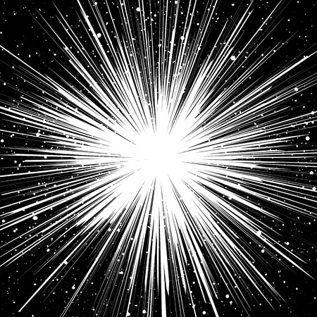 textured backdrop: Black and white sunburst abstract background. Ray burst, explosion, comic big bang. Superhero action speed frame. Radial lines. Monochrome design element. Textured backdrop. Illustration