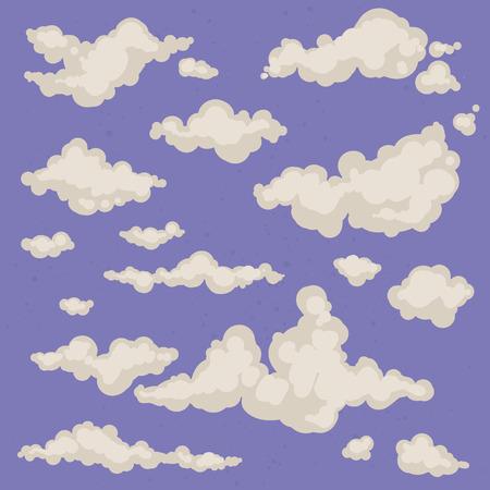 ciel avec nuages: Ensemble de nuages ??isolés vecteur dessinés à la main. Fond de ciel avec des nuages ??différents. Ciel nuageux. Collection d'icônes et de formes cloud. fond magique vintage Illustration