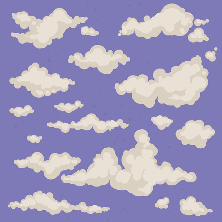 clouds and sky: Set of isolated hand-drawn vector clouds. Sky background with different clouds. Cloudy sky. Collection of cloud icons and shapes. Magic vintage background Illustration