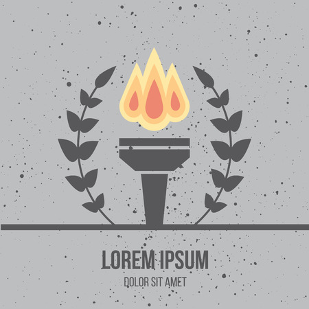 burned: Modern flat design icon of burned torch with olive branches. Flame. Symbol of friendship, peace and victory