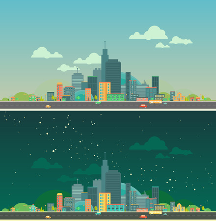 Modern vector illustration of urban landscape. Flat city. Set of buildings. Day and night creative background. Panorama