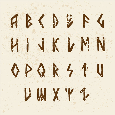 Modern vector runic style hand drawn alphabet. ABC paintad letters. Ink lettering. Illustration
