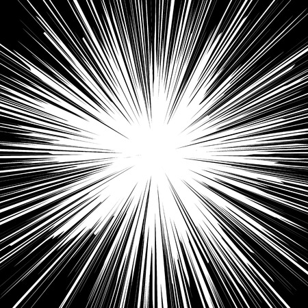 Black and white sunburst abstract background. Ray burst, explosion, comic big bang. Superhero action speed frame. Radial lines. Monochrome design element.