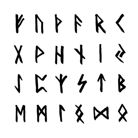 germanic people: Set of ancient Old Norse runes. Runic alphabet (Futhark). 24 scandinavian and germanic letters. Magic symbols. Illustration