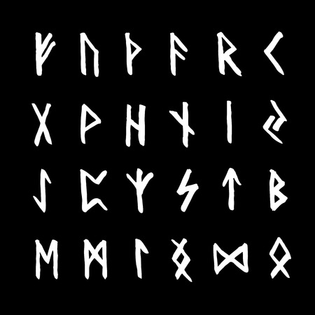 Set of ancient Old Norse runes. Runic alphabet (Futhark). 24 scandinavian and germanic letters. Magic symbols. Illustration