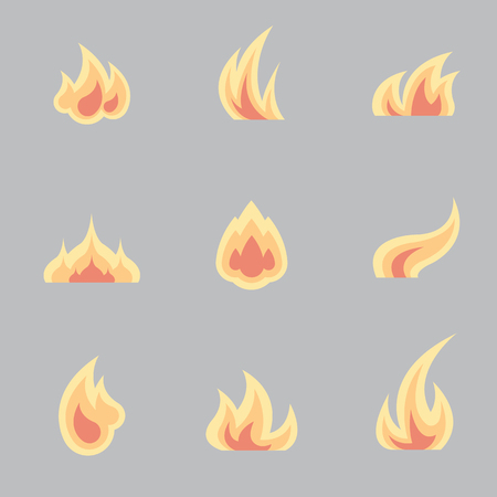 fire flame: Flat set of various fire elements. Flame icons collection. Different fire shapes vector illustration Illustration