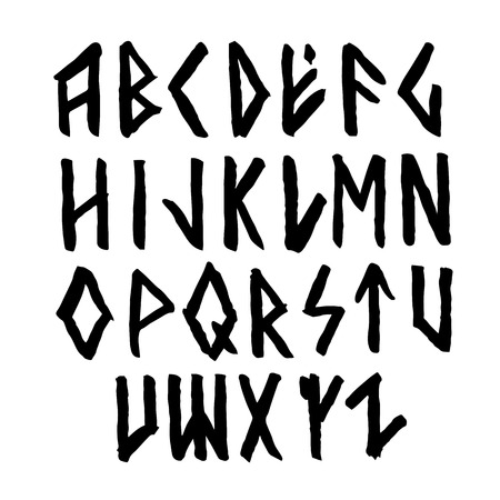 Modern vector runic style hand drawn alphabet. ABC paintad letters. Ink lettering. 일러스트
