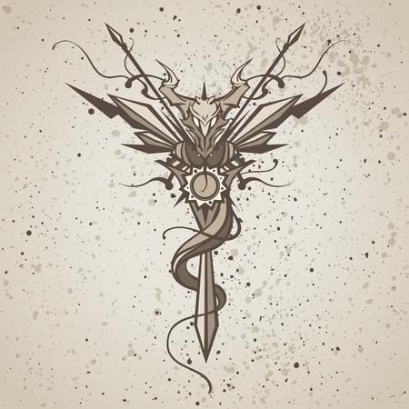 Dragon. animaux Totem. Vector illustration, tatouage, t-shirt imprimé. Dragon symbole de zodiaque Chine.