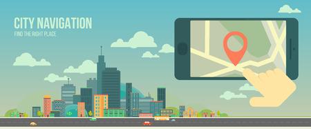 navegacion: Bandera de la ciudad de navegación web. ciudad plana panorámica y aplicación de navegación en la pantalla del móvil. navegación GPS en el teléfono móvil con el contacto y el mapa. Panorama