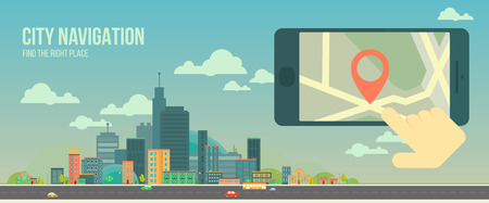 City navigation web banner. Panoramic flat city and navigation app on mobile screen. GPS navigation on mobile phone with pin and map. Panorama