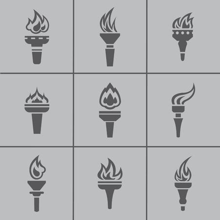 torch flame: Set of modern flat design icons of burned torch. Flame, fire icon vector collection.