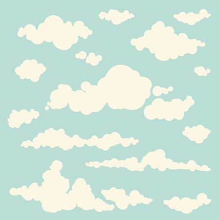 Set of isolated hand-drawn vector clouds. Sky background with different clouds. Cloudy sky. Collection of cloud icons and shapes.