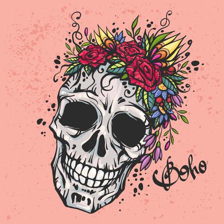 Menselijke schedel met bloem krans van rozen en wilde bloemen. Mooie bohemian chic vector illustratie. Kleurrijke boho schedel t-shirt drukken. Old school tattoo design.