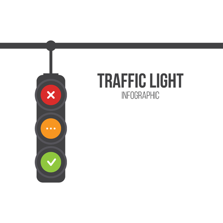 Traffic light signals. Flat illustration. Safety infographic. Vector image of semaphore with place for your text on white background. Yes, no and wait. Vettoriali