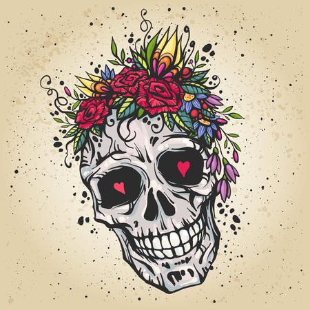 Menschlicher Schädel mit Blumenkranz aus Rosen und Wildblumen. Schöne chicen Vektor-Illustration. Bunte Boho Schädel T-Shirt mit Aufdruck. Old school Tattoo-Design.