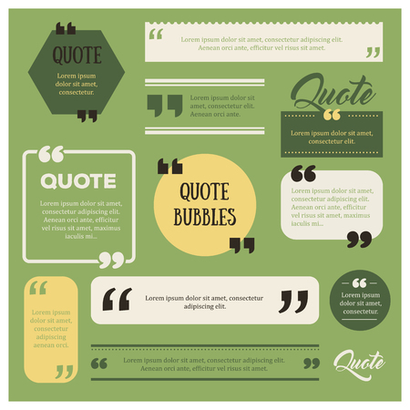 memos: Set of modern quote bubbles. Quote comment template. Website icon. Different quote frames blank template.