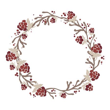 가지, 잎과 열매의 손으로 그린 환입니다. 아름 다운 자연 요소입니다. 소박한 장식입니다. 크리스마스 화 환입니다. 스톡 콘텐츠 - 60788832