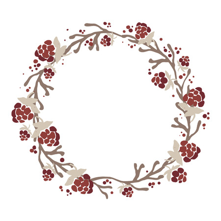 Hand drawn wreath of branches, leafs and berries. Beautiful nature element. Rustic decoration. Christmas wreath. Иллюстрация