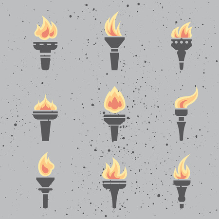 burned: Set of modern flat design icons of burned torch. Flame, fire icon vector collection.