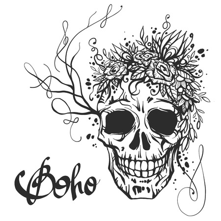 Human skull with flower wreath of roses and wild flowers. Beautiful bohemian chic vector illustration. Boho skull print. Old school tattoo design.