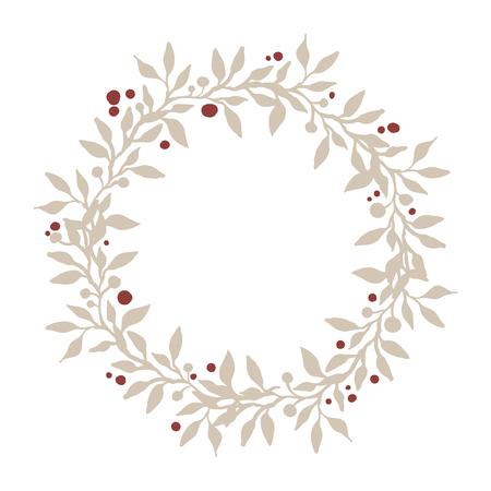 dibujado a mano la corona de ramas, hojas y bayas. elemento de la naturaleza hermosa. Decoración rústica. Corona de Navidad.